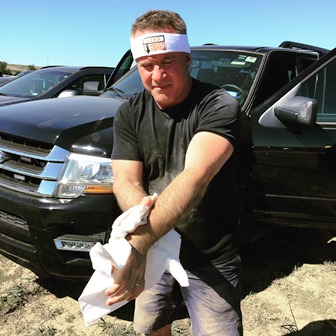Using a Responder Wipe to clean up after a Tough Mudder